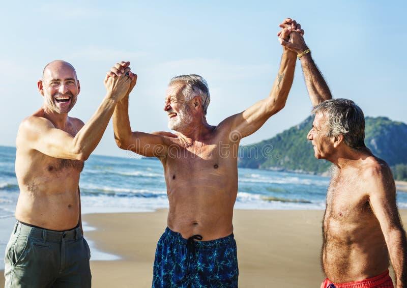 Höga vänner som tycker om stranden i sommartiden fotografering för bildbyråer