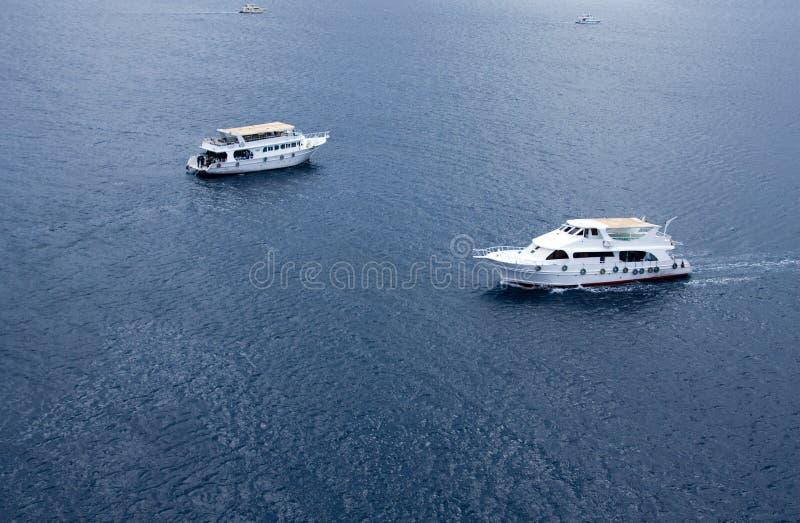 höga vita yachter för float arkivfoto