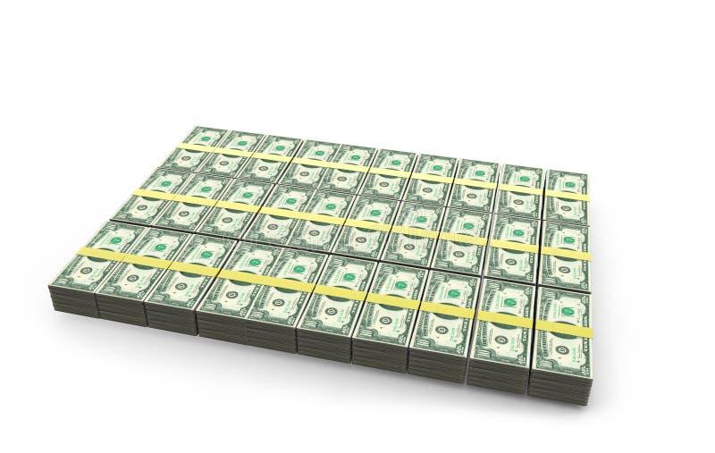 Högar av 10 dollarräkningar - med och utan djup av fälteffekt royaltyfri illustrationer