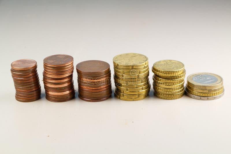 Högar av euromynt royaltyfri fotografi