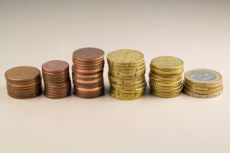 Högar av euromynt royaltyfria bilder