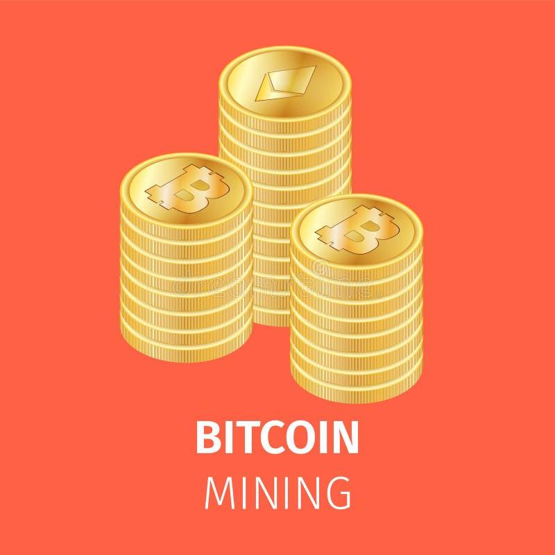 Högar av guld- Bitcoin mynt på orange bakgrund royaltyfri illustrationer