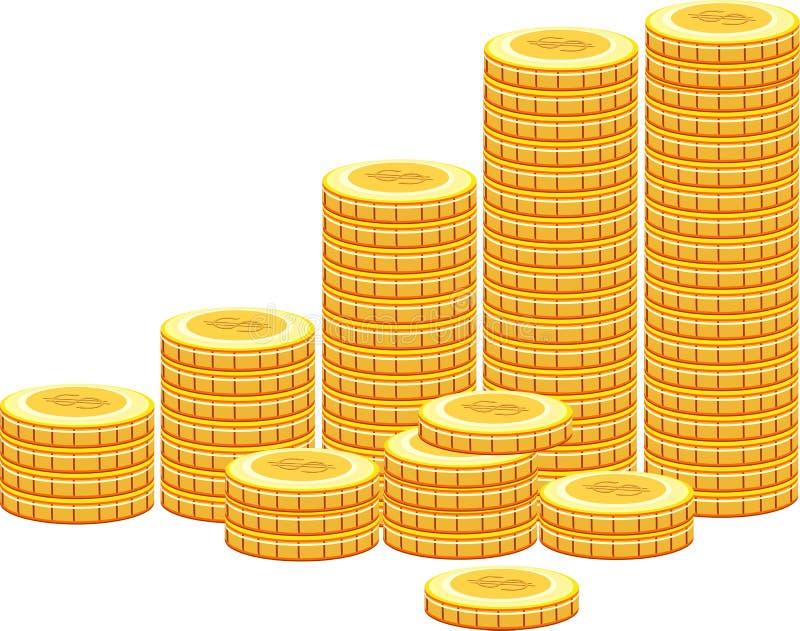 Högar av guld- mynt på vit bakgrund stock illustrationer