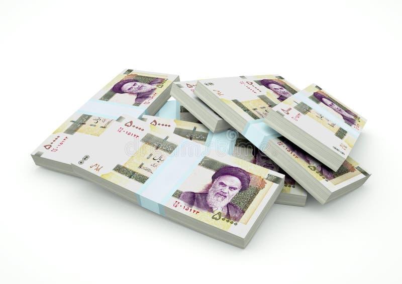 Högar av Iran pengar som isoleras på vit bakgrund royaltyfria foton