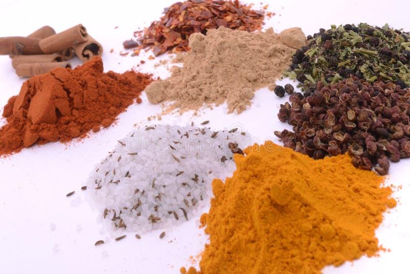 Högar av olika kryddor arkivfoto