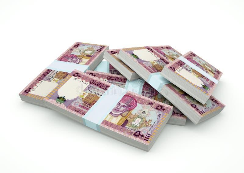Högar av Oman pengar som isoleras på vit bakgrund royaltyfri fotografi