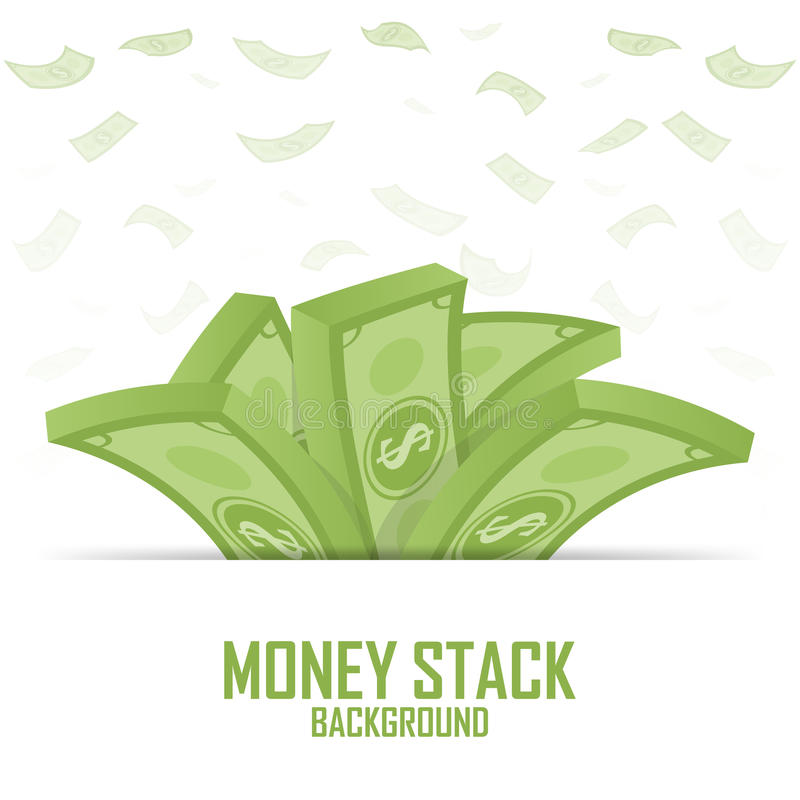 Högar av pengarbunten, kontant dollar på vit, illustration stock illustrationer