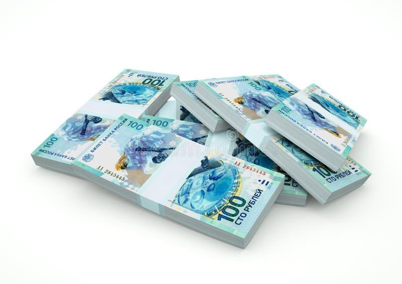 Högar av Ryssland pengar som isoleras på vit bakgrund arkivfoto