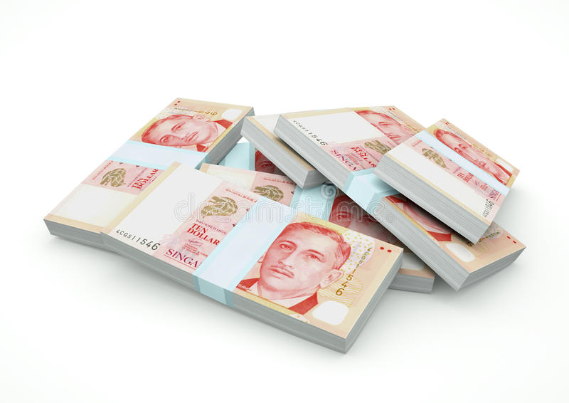 Högar av Singapore pengar som isoleras på vit backgound arkivbild