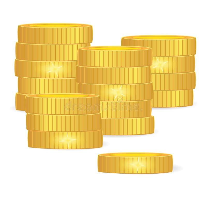 Högar av skinande guld- mynt royaltyfri illustrationer