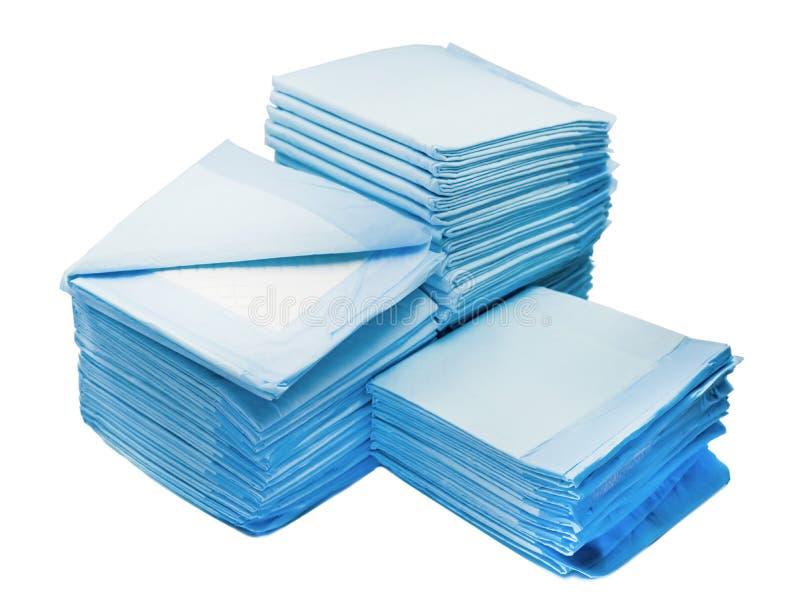 Högar av toalettblock för husdjur som isoleras på vit hem- block för läckaproogutbildning för djur arkivbilder