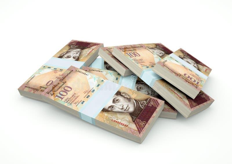 Högar av Venezuela pengar som isoleras på vit bakgrund royaltyfri fotografi