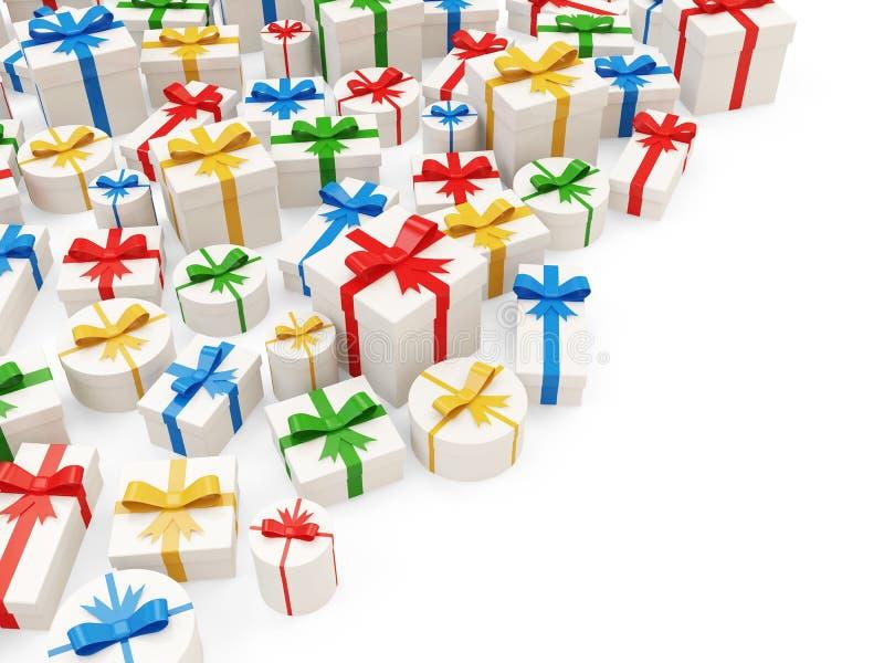 Högen av den färgrika gåvan boxas vektor illustrationer