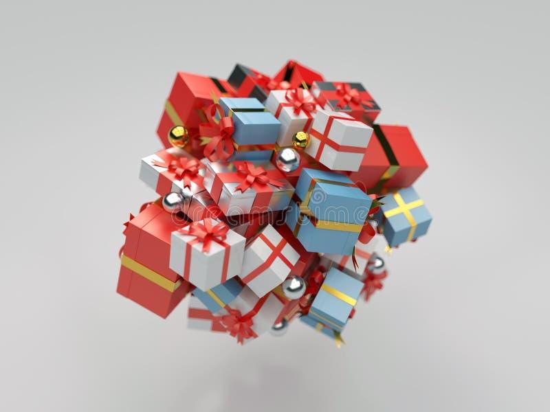 Högen av gåvan boxas stock illustrationer