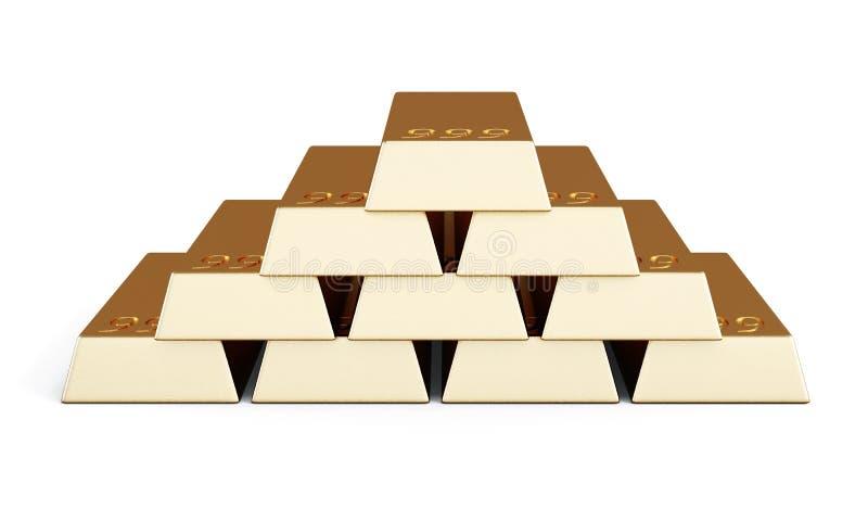 Högen av guld- stänger framförande 3d stock illustrationer