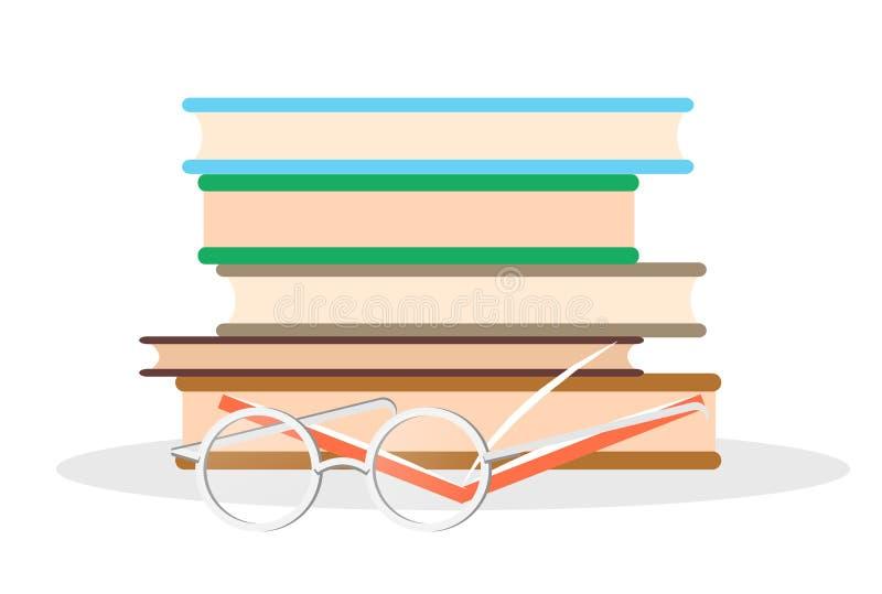 Högen av litteratur, öppnar boken och exponeringsglascloseupen vektor illustrationer