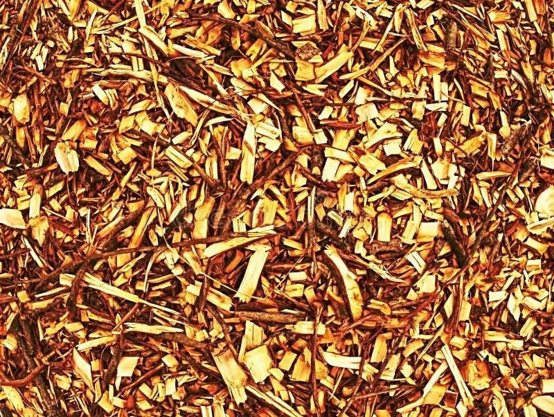 Högen av wood chiper och sågspån kan användas för biobränsletillverkning arkivbild