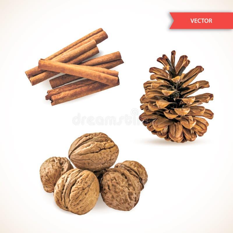 Högen eller högen av det torra kanelbruna skället eller pinnar, valnötter och sörjer kotten som isoleras på vit bakgrund Ställ in stock illustrationer