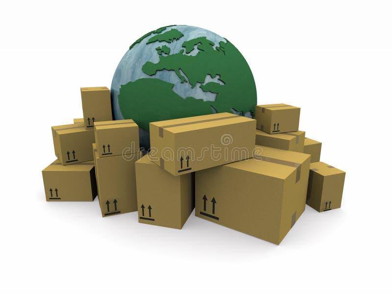 högen emballage världen vektor illustrationer