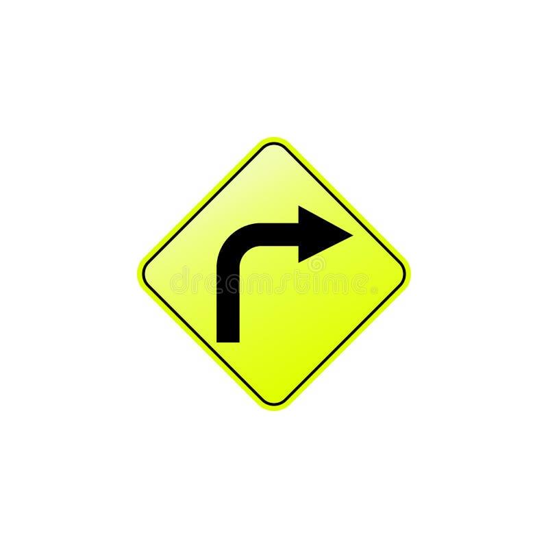 Höger krökningsymbol Beståndsdel av vägmärkesymbolen för mobila begrepps- och rengöringsdukapps Den kulöra högra krökningsymbolen royaltyfri illustrationer