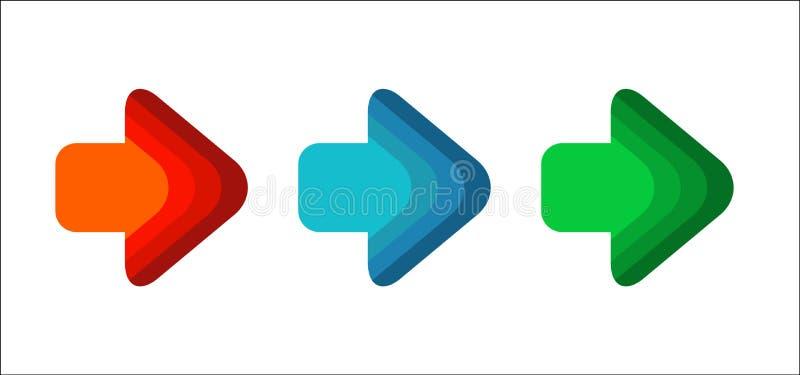 Höger linje rött blått runt hörn för fastställd pil för grön färg royaltyfri illustrationer
