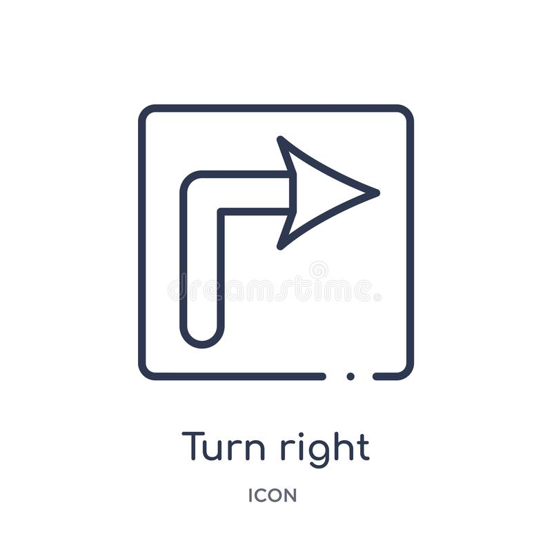 Höger symbol för linjär vänd från vaken översiktssamling Tunn linje höger vektor för vänd som isoleras på vit bakgrund moderiktig royaltyfri illustrationer