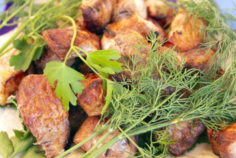 Högg av bbq-stycken av fårkött, nötkött eller fegt kött på plattan med grönska av persilja och dill arkivbilder