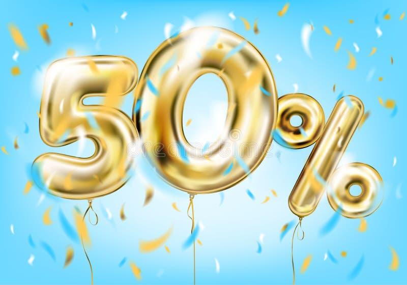 Högkvalitativ bild av den guld- ballongen femtio procent stock illustrationer