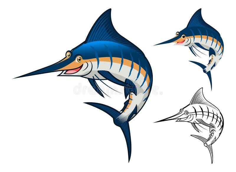Högkvalitativ blå Marlin Cartoon Character Include Flat design och linje Art Version royaltyfri illustrationer