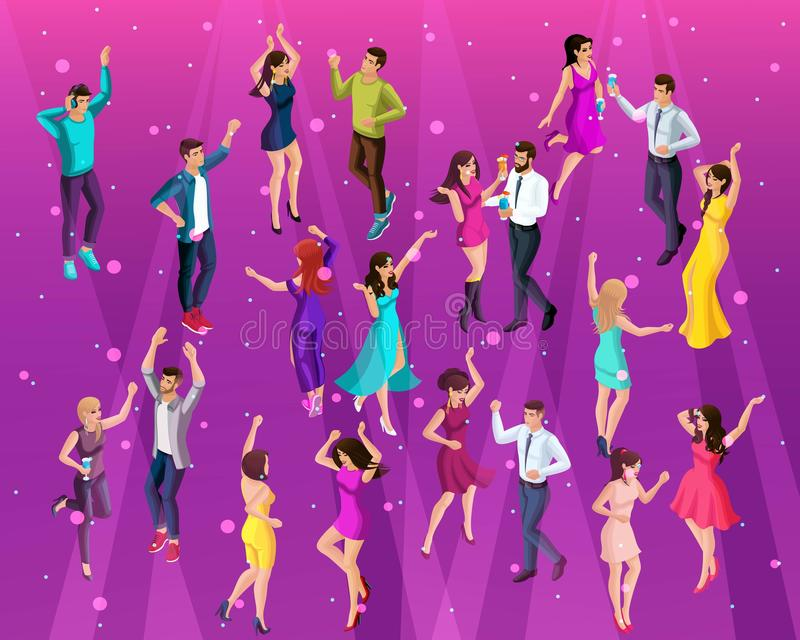 Högkvalitativ 3D Isometry, 3D en flicka av en man på ett parti, ett företags parti som dansar i en klubba, ung härlig folkdans vektor illustrationer