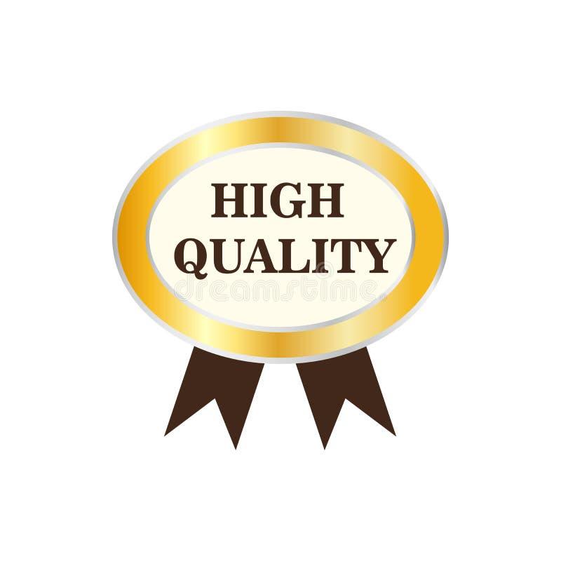 Högkvalitativ guld- etikettsymbol stock illustrationer