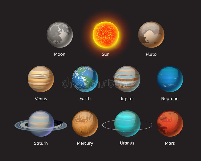 Högkvalitativ illustration för vektor för stjärna för omlopp för jordklot för vetenskap för jord för astronomi för solsystemplane stock illustrationer