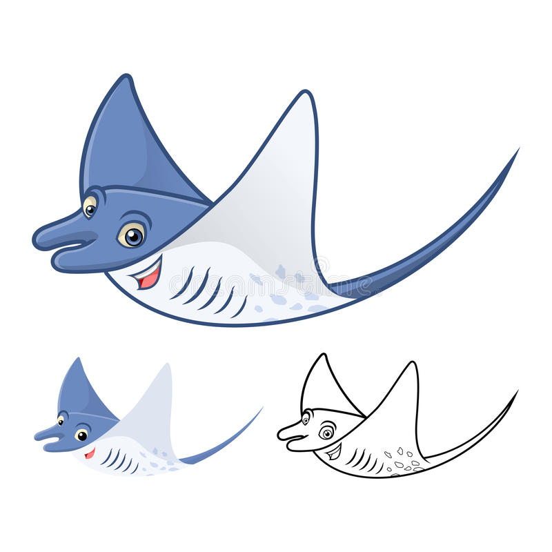 Högkvalitativ MantaRay Cartoon Character Include Flat design och linje Art Version royaltyfri illustrationer