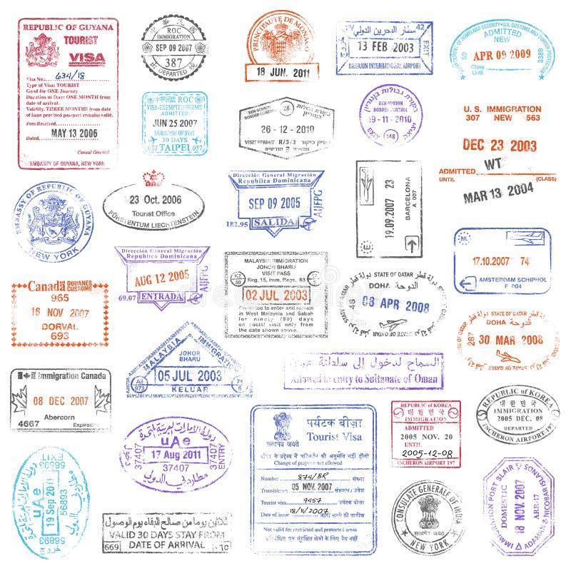 Högkvalitativ samling för grungepassstämpel royaltyfri illustrationer