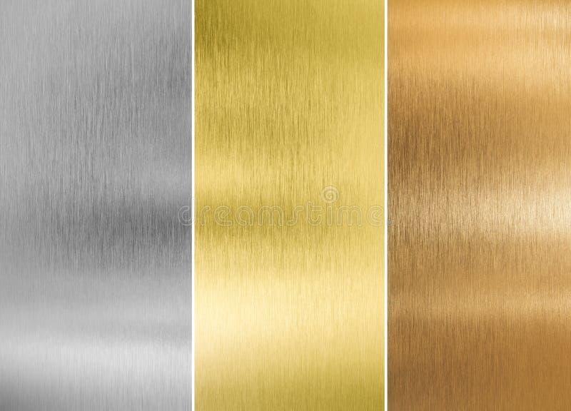 Högkvalitativ silver-, guld- och bronsmetall royaltyfri fotografi