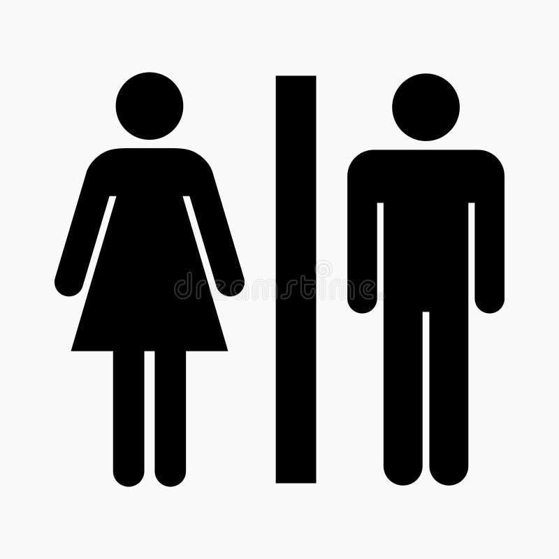 Högkvalitativ vektorillustration av symbolen för offentlig toalett/wc - internationell version stock illustrationer
