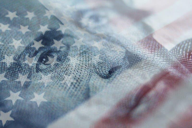 Högkvalitativa Andrew Jackson With United States Flag arkivfoto