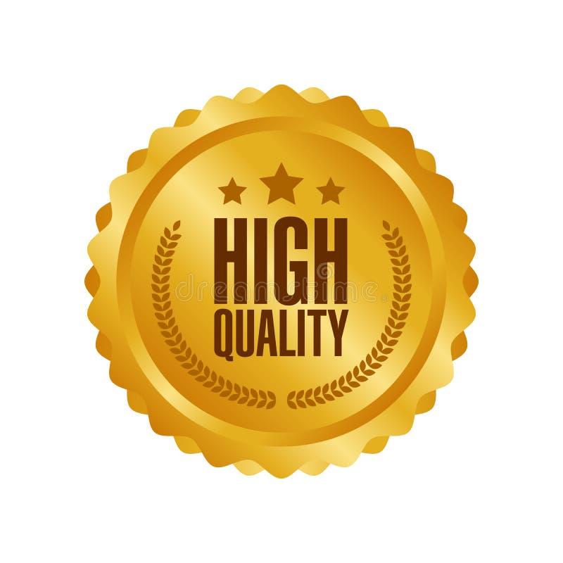 Högkvalitativt guld- tecken för vektor, rund etikett vektor illustrationer