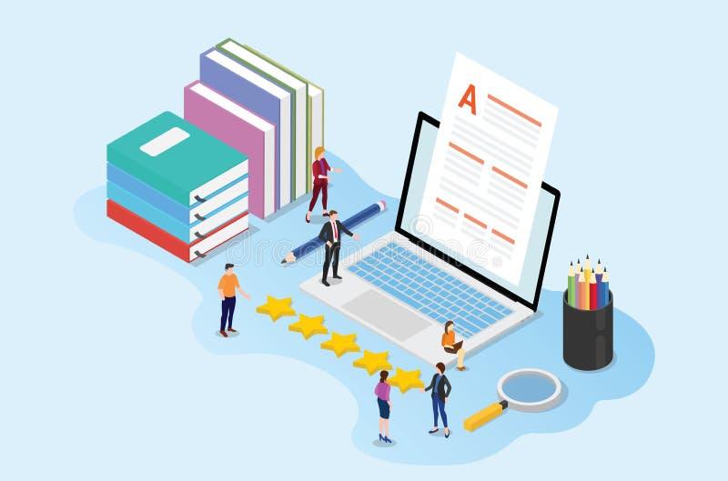 Högkvalitativt nöjt begrepp med lagfolkredaktören med böcker för pappersdokument och bärbar datormed isometrisk stil - vektor royaltyfri illustrationer