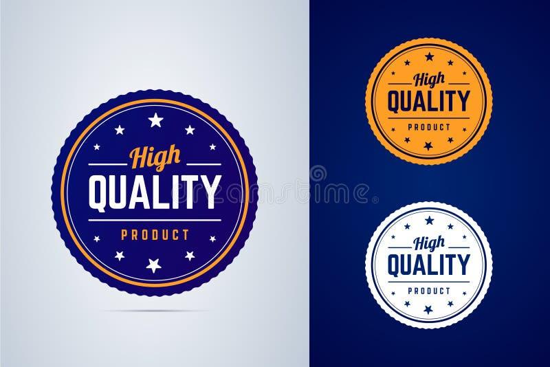 Högkvalitativt produktemblem Vektoretikett i tre färger royaltyfri illustrationer