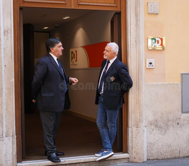 Högkvarter för politiskt parti för demokratiska partietPD italienska i Rome arkivfoton