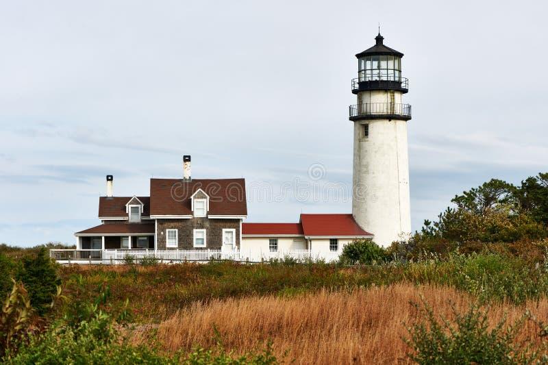 Höglands- fyr på Cape Cod som byggs i 1797 royaltyfria foton