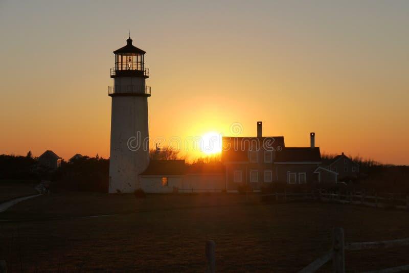 Höglands- ljus fyr, Cape Cod, USA royaltyfria foton