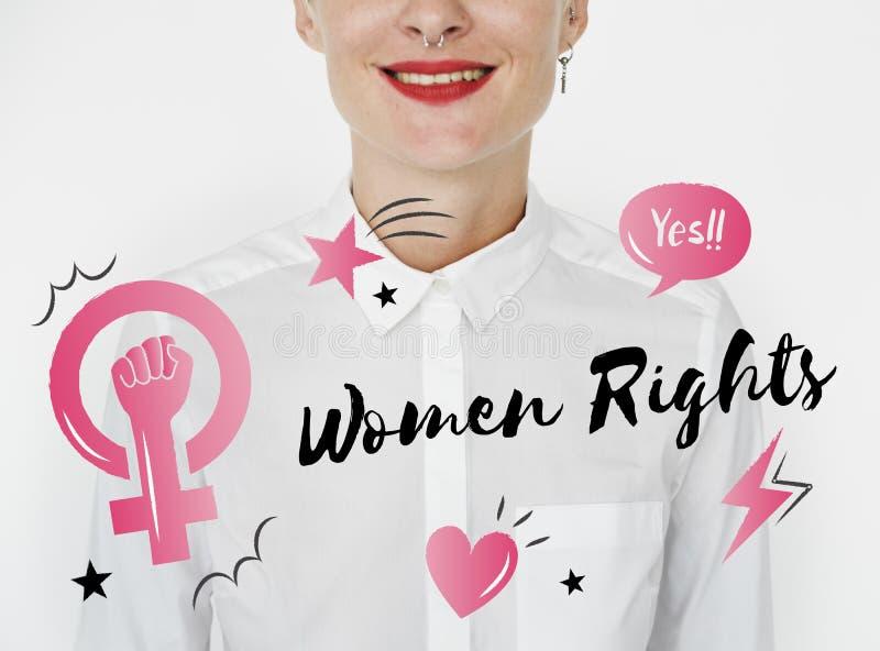 Högra kvinnor för feminismjämställdhetförtroende royaltyfri illustrationer