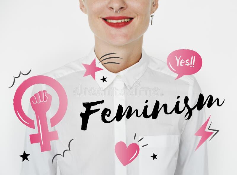 Högra kvinnor för feminismjämställdhetförtroende stock illustrationer
