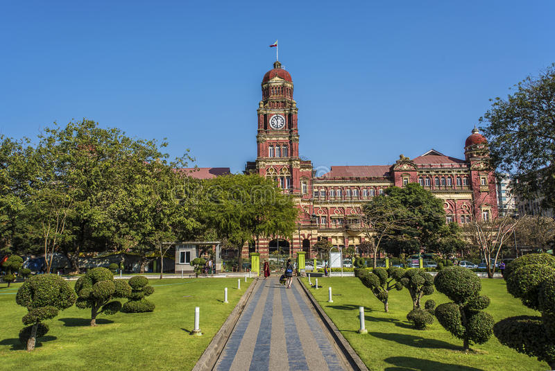 Högre domstol i Yangon royaltyfria bilder