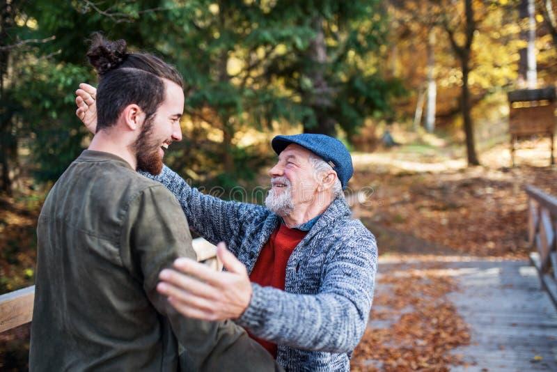 Högre far och hans son pÃ¥ promenad i naturen, humbug och prat fotografering för bildbyråer