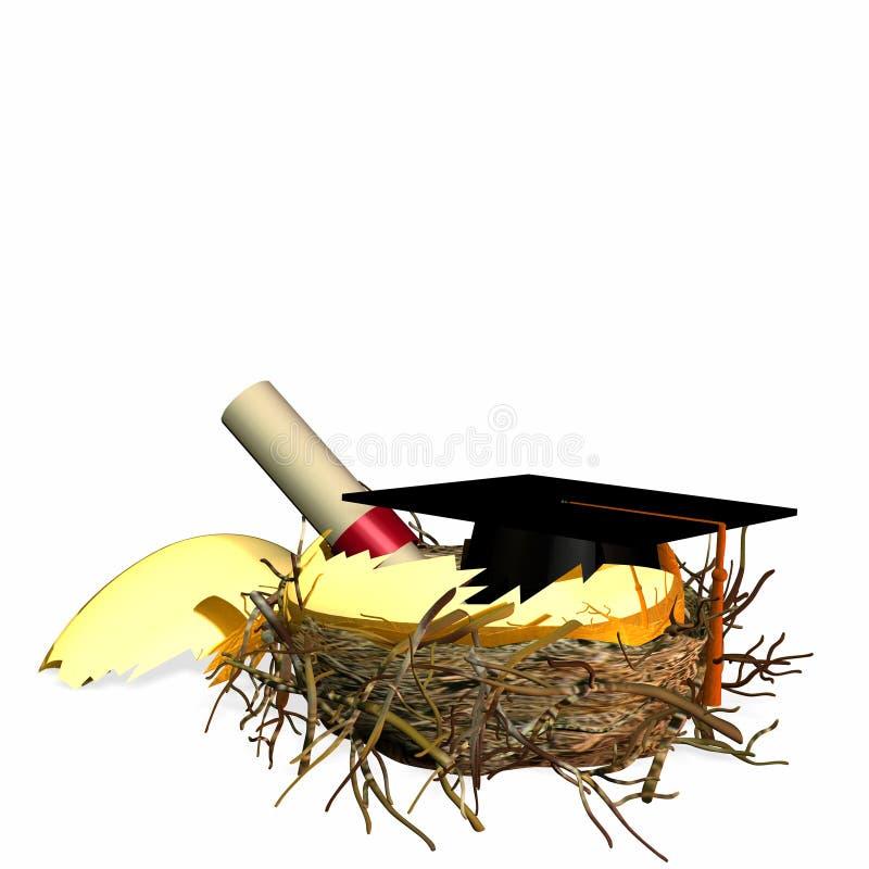 högre rede för utbildningsägg stock illustrationer