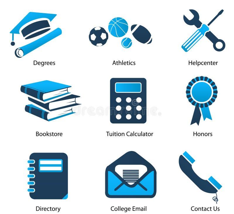 högre symboler för utbildning en set stock illustrationer