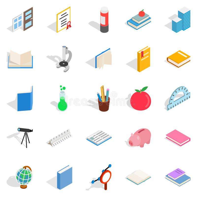 Högre utbildningsinstitutionsymbolsuppsättning, isometrisk stil stock illustrationer